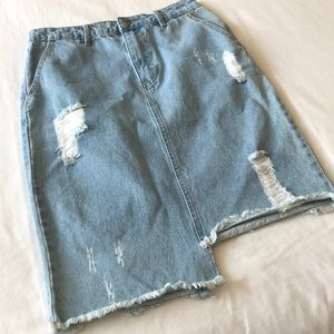 Distressed jean pencil skirt